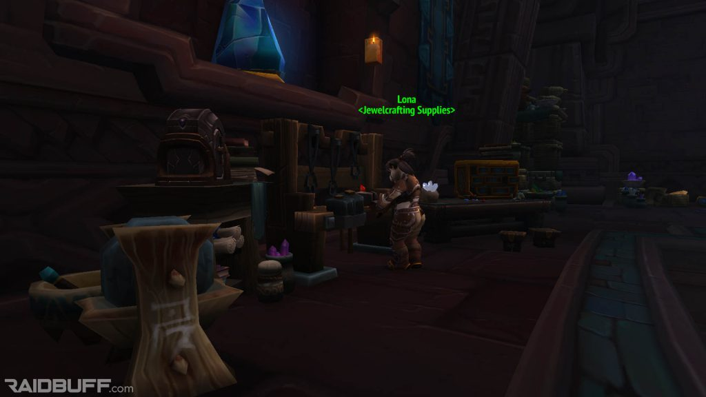 An image of Lona, the Jewelcrafting Supplies vendor, within the Hall of Glimmers in Dazar'alor