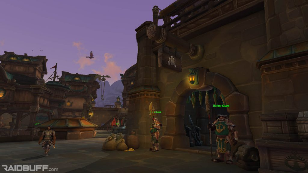 A screenshot of the outside of the bank in Boralus