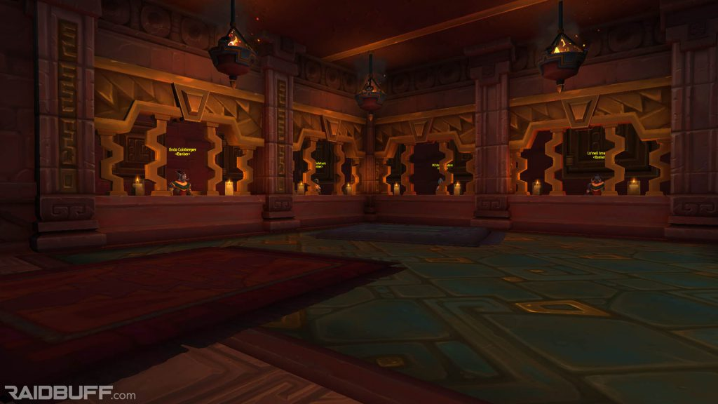 An image of the four bankers in Dazar'alor, who will provide access to your personal bank