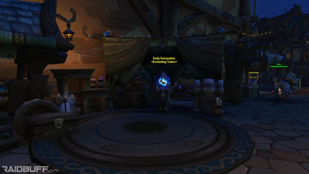 A screenshot of the Enchanting Trainer in Boralus, Emily Fairweather