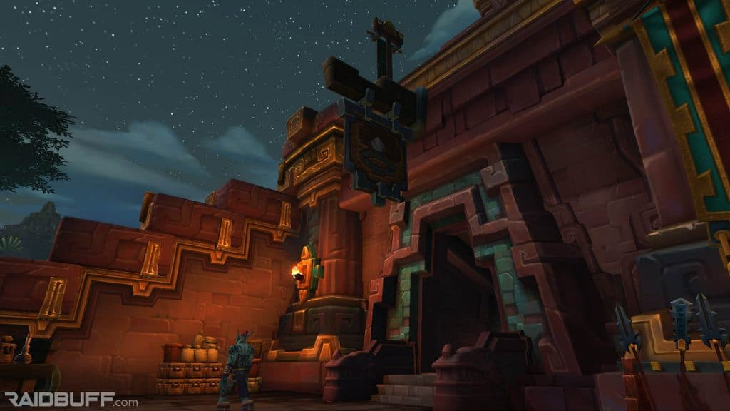 An image of the entrance to the Hall of Glimmers in Dazar'alor