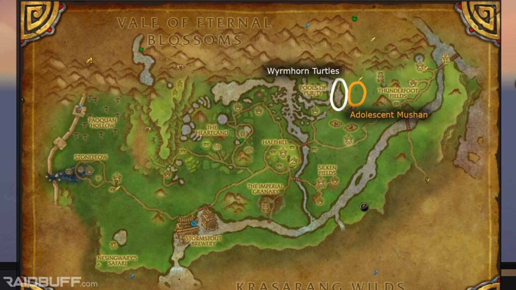 valley of the four winds pandaria skinning guide map